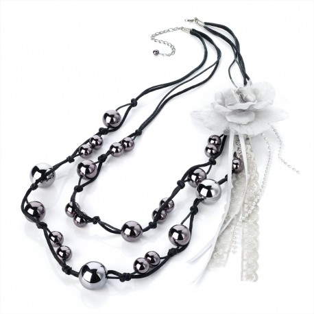 Hematite Tone Two Row Bead Necklace with Brooch