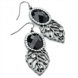 Hematite Tone Leaf Wire Drop Earrings with Clear/Jet Black Crystals