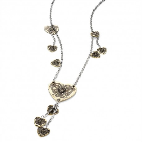 Antique Silver Tone Chain Necklace with Antique Gold Tone Charms
