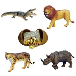 Wild Animals 4D 3D Puzzle Egg Toy Kit Collection 5 (Set of 4)