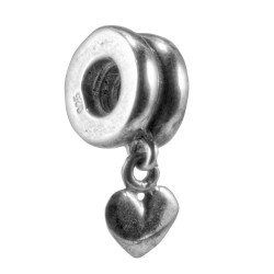 Carlo Biagi Silver Smooth Dangle Heart Charm Bead