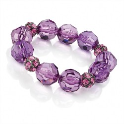 Purple Amethyst and Pink Facetted Glass Bead Elasticated Stretch Bracelet