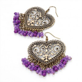 Antique Gold Tone Heart Wire Drop Earrings with Purple Beads