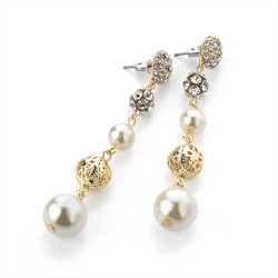 Gold Colour Round Dandle Drop Hook Earrings with Faux Pearls & Clear Crystals