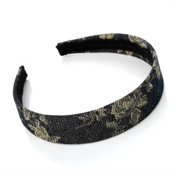 Charcoal Grey/Black Fabric Alice Band Headband with Floral Decoration
