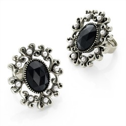 Antique Silver Colour Jet Black Crystal & Faux Pearl Adjustable Ring