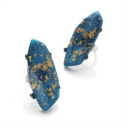 Blue and Gold Colour Acrylic Stone Adjustable Ring