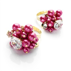 Gold Colour Fuchsia Bead and CZ Crystal Adjustable Ring
