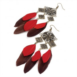 Antique Gold Tone Wire Drop Earrings with Square Embossed Designs and Red/Brown Feathers