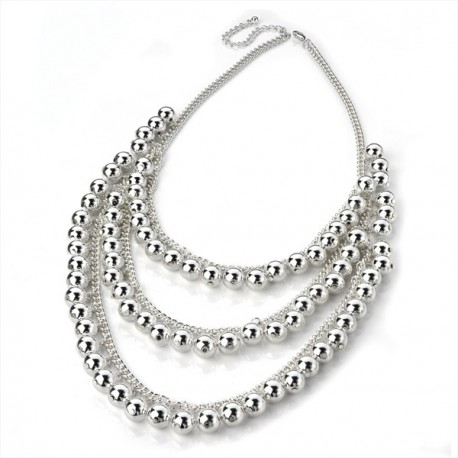 3 Row Silver Tone Chain Bead Necklace