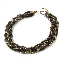 Burnt Gold Tone & Brown Cord Choker Necklace