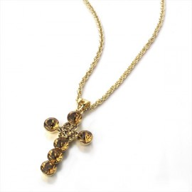 Gold Tone Brown Cross Pendant Necklace