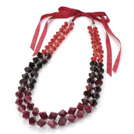 2 Row Red Facetted Bead and Ribbon Necklace