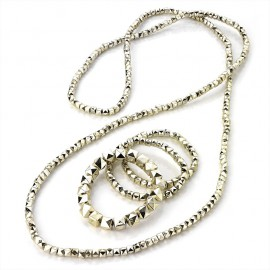 4 Piece Gold Tone Long Necklace and Bracelet Set