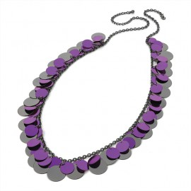 Purple & Hematite Tone Sequin Chain Necklace
