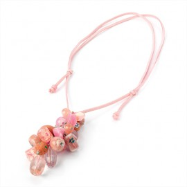 Pink Bead Charm and Cord Necklace