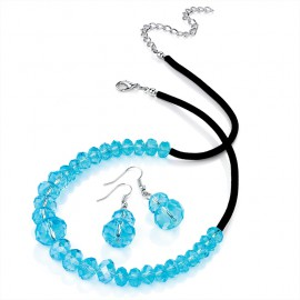 Aqua Blue Facetted Bead Necklace Set