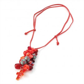 Red Cord Charm Necklace with Red Tone Charm Beads
