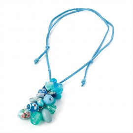Turquoise Blue Cord Charm Necklace with Blue Tone Charm Beads