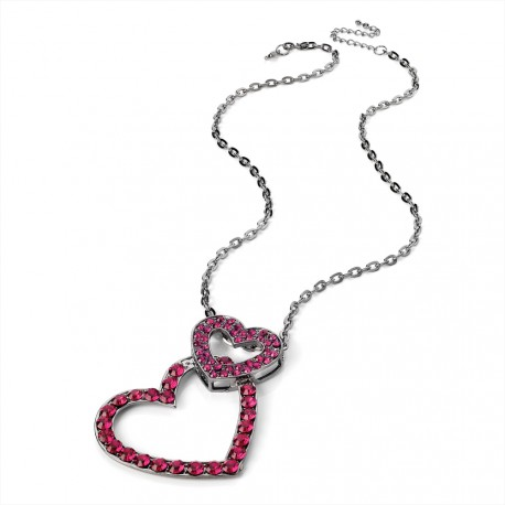 Hematite Tone Chain Necklace with Twin Fuchsia Crystal Hearts