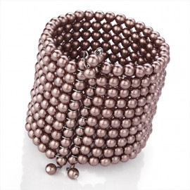 10 Row Brown Faux Pearl Cuff Bangle