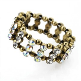 Burnt Gold Tone & AB Crystal Elasticated Bracelet