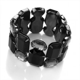Haematite Tone & Black Coloured Acrylic Elasticated Bracelet