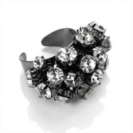 Haematite Tone & Clear Crystal Adjustable Ring