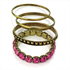 4 Piece Antique Gold Tone and Fuchsia Pink Bangle Set