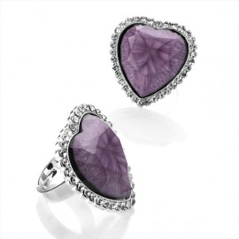 Purple Marbled Crystal Heart Adjustable Ring