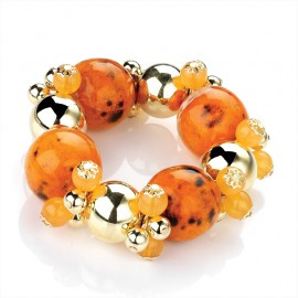 Orange and Gold Tone Elasticated Bracelet