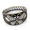 Butterfly Motif Antique Gold Tone Hinged Bangle