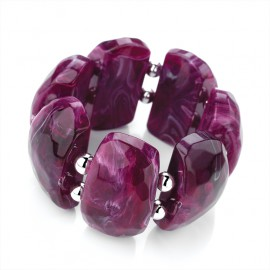Purple Marble Effect Elasticated Bracelet