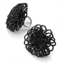Black Bead Adjustable Ring