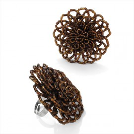 Brown Bead Adjustable Ring