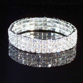 Cubic Zirconia Three Row Stretchy Bracelet
