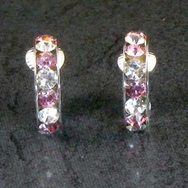 Pink Crystal Hoop Clip-on Earrings