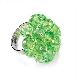 Green Glass Facetted Bead Adjustable Ring