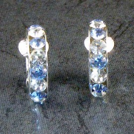 Blue Crystal Hoop Clip-on Earrings