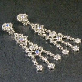 Diamante AB Chandelier Clip-on Earrings
