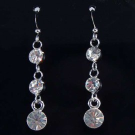 Three Stone Graduated Drop Earrings