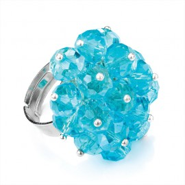 Aqua Blue Glass Facetted Bead Adjustable Ring