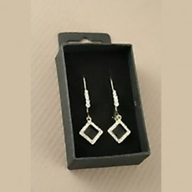 Gold and Diamante Diamond Drop Earrings (Boxed)