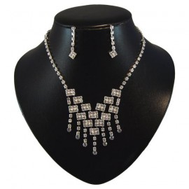 Diamante Waterfall Necklace Set