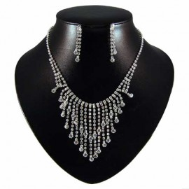 Diamante Graduated Waterfall Necklace Set