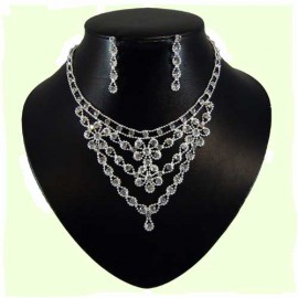 Diamante Double Flower Loop Necklace Set