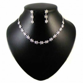 Diamante Snowflake Cluster Necklace Set