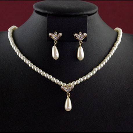 Pearl & Diamante Coronet Drop Necklace Set