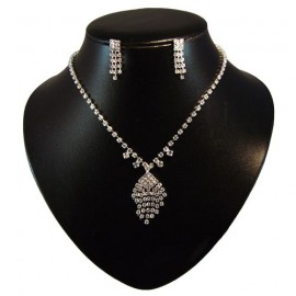 Diamante Diamond Tassel Necklace Set