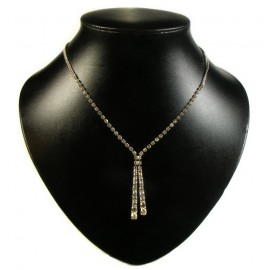 Diamante Twin Graduated Drop Necklace